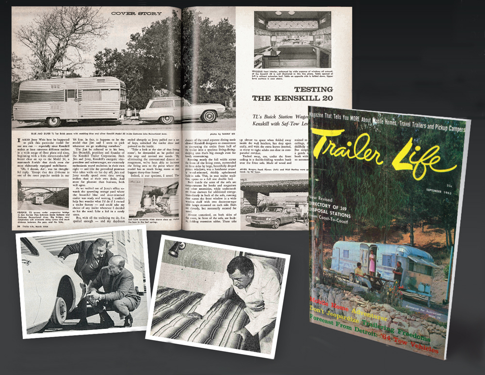 Remembering Art Rouse (Above, clockwise from top) Rouse hauled a 20-foot Kenskill up California's San Marcos Pass with a Buick station wagon for a 1964 road test. The previous year's September cover featured Rouse, his wife, Harriet, and a Streamline Count at Malibu's Paradise Cove. Both publisher and editor in the early days, Rouse bed-checked a '59 Lakewood and put the '67 Toronado through its paces. (Right) All smiles at Trailer Life's 1966 Golden Wheel Awards.