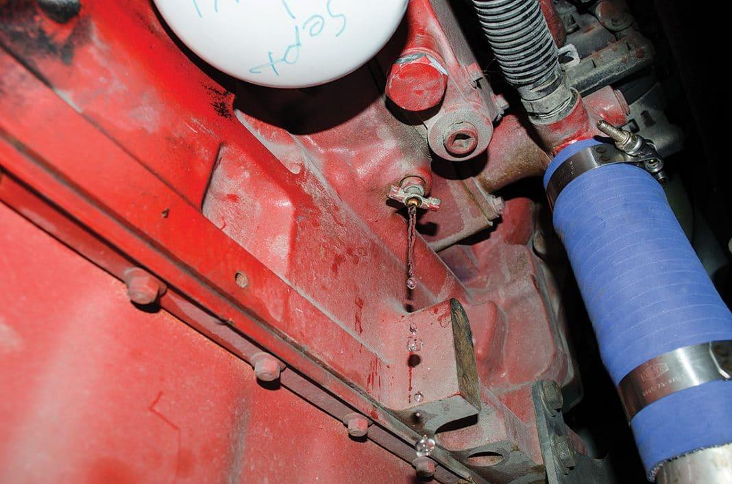 drain petcock at water pump