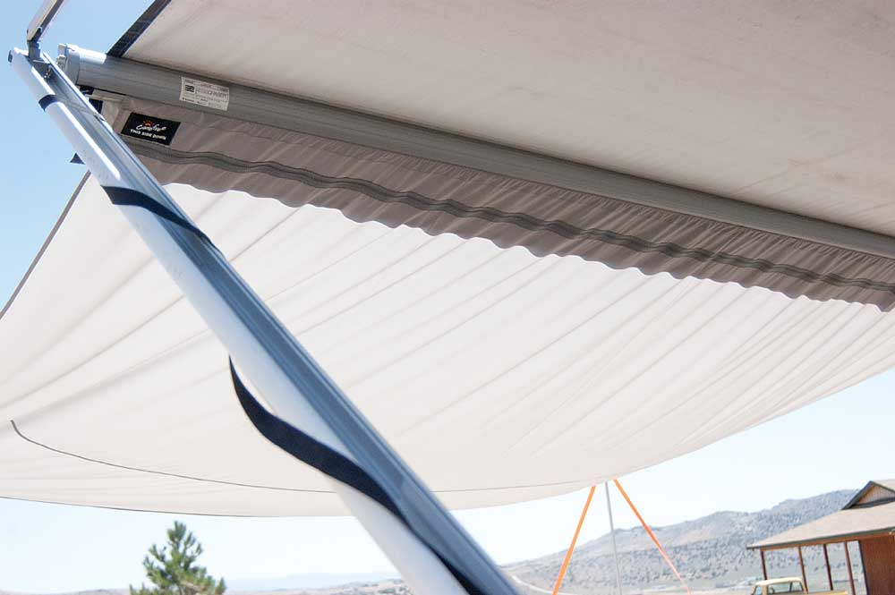 The Awning Extend'r adds 8 feet width to the awning coverage, which in most cases provides about twice the shade.