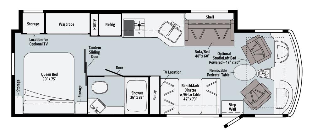 Winnebago 29B Class A motorhome floorplan