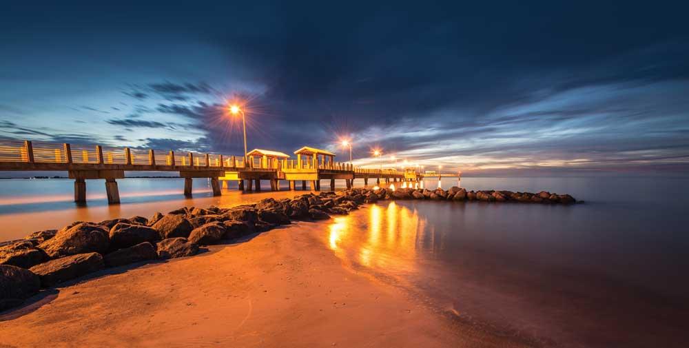 Fort Desoto Park's Gulf Fishing Pier at sunset