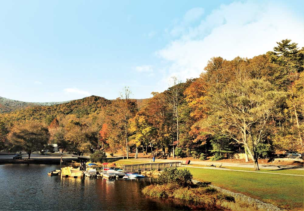 A view of the marina and fall colors at Vogel State Park in Georgia