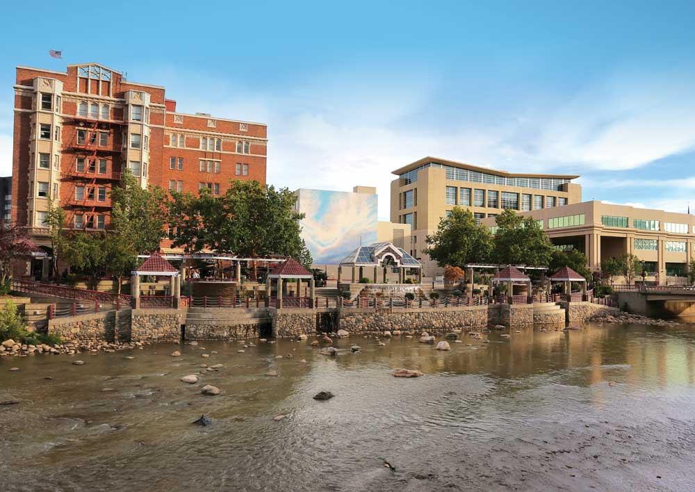 A view of the Truckee River Walk which offers dining and shopping options just a few blocks from downtown Reno, Nevada
