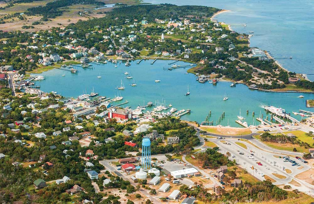 This aerial view of Ocracoke illustrates the village's beach-centric vibe, including shopping, restaurants and water-based activities.