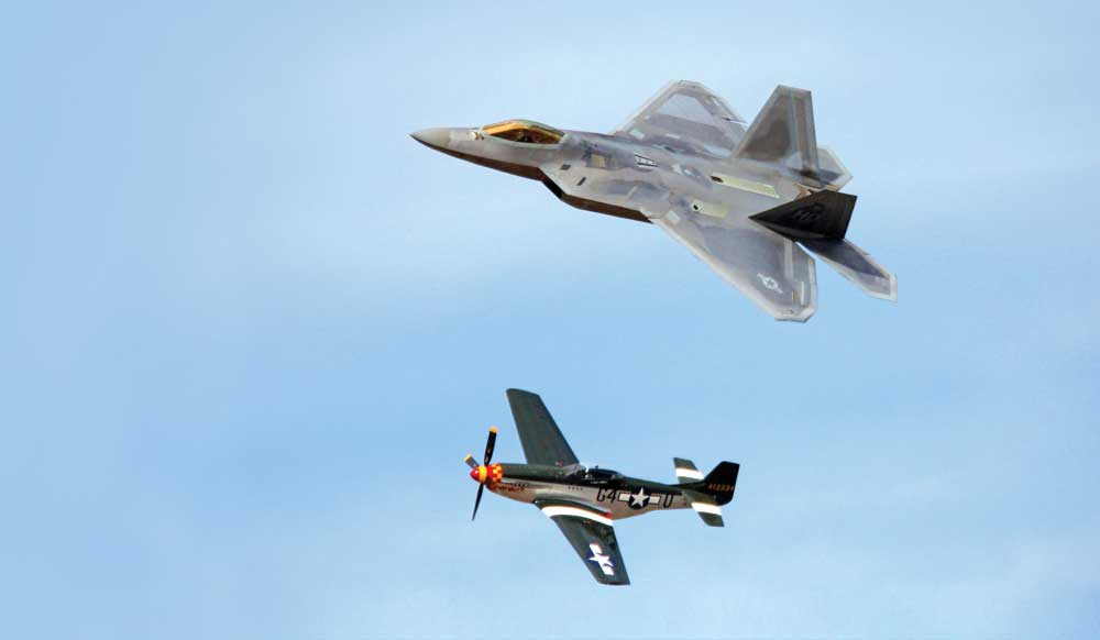 Two planes flying at the STIHL National Championship Air Races in Reno, Nevads