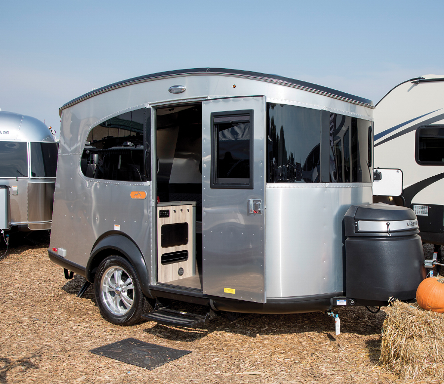Silver tiny trailer with door open