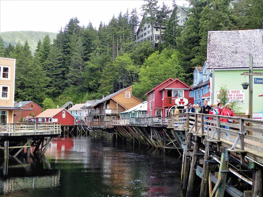 In Ketchikan, a picturesque boardwalk on wooden pilings leads to shops