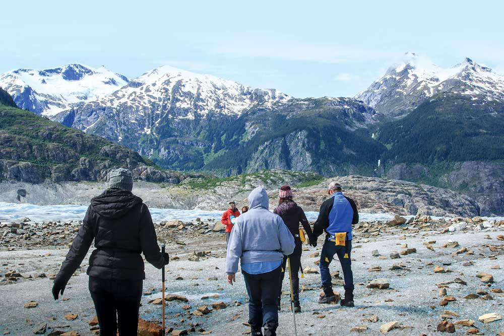 """On the Glacier Discovery Tour, a 20-minute helicopter flight transports tour-takers from Skagway to the remote """"ice river"""" known as Meade Glacier."""
