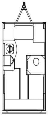 Line drawing floorplan of Alto R1723 trailer