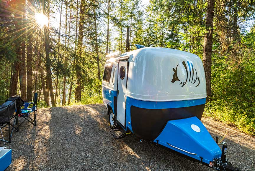 Blue, white and black Armadillo fiberglass trailer