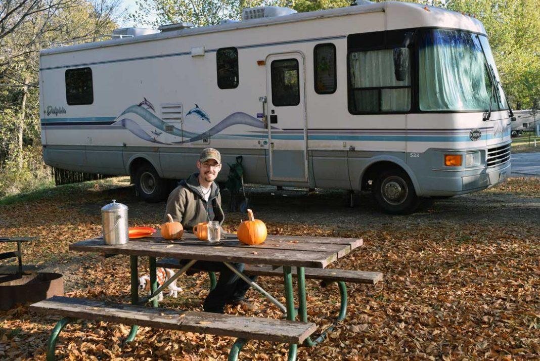 pumpkin carving at campground