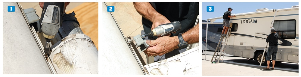 1) Remove screws that run through the awning rail into the fabric. 2) Remove the lag screws from the front and rear upper brackets. 3) Slide the entire awning assembly out of either end of the awning rail.