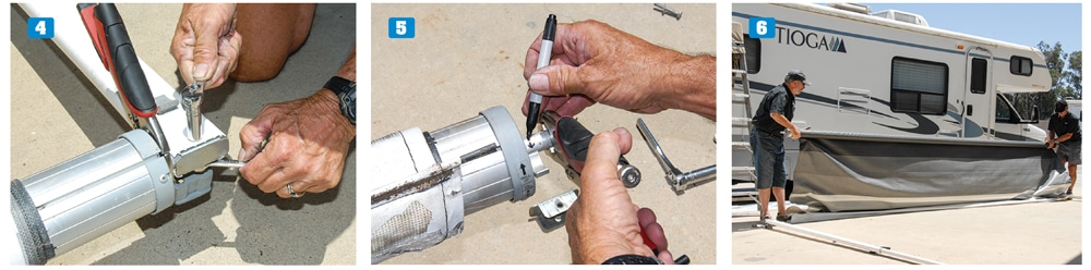 4) Use a pair of Vise-Grip pliers to hold the spring assembly while removing the bolt that holds the upright in place. 5) Mark the direction that you will need to wind the spring assembly before unwinding it. 6) Use the old fabric as ground cover to keep the new fabric clean during installation.