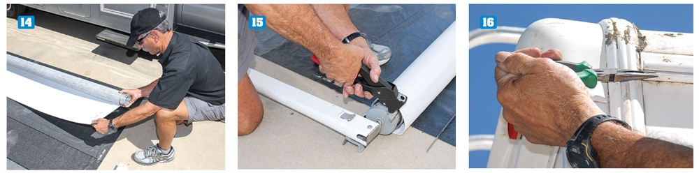 14) Carefully roll the new fabric in the proper direction onto the roller tube. 15) Use 3/16-inch-long aluminum rivets to secure the spring assemblies into place. 16) Using a pair of long-nose pliers, spread the opening of the awning rail to prevent the fabric from the snagging during installation.