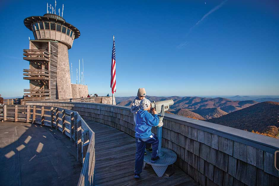 A viwer on the observation deck at Brasstown Bald has a view of the north Georgia mountains
