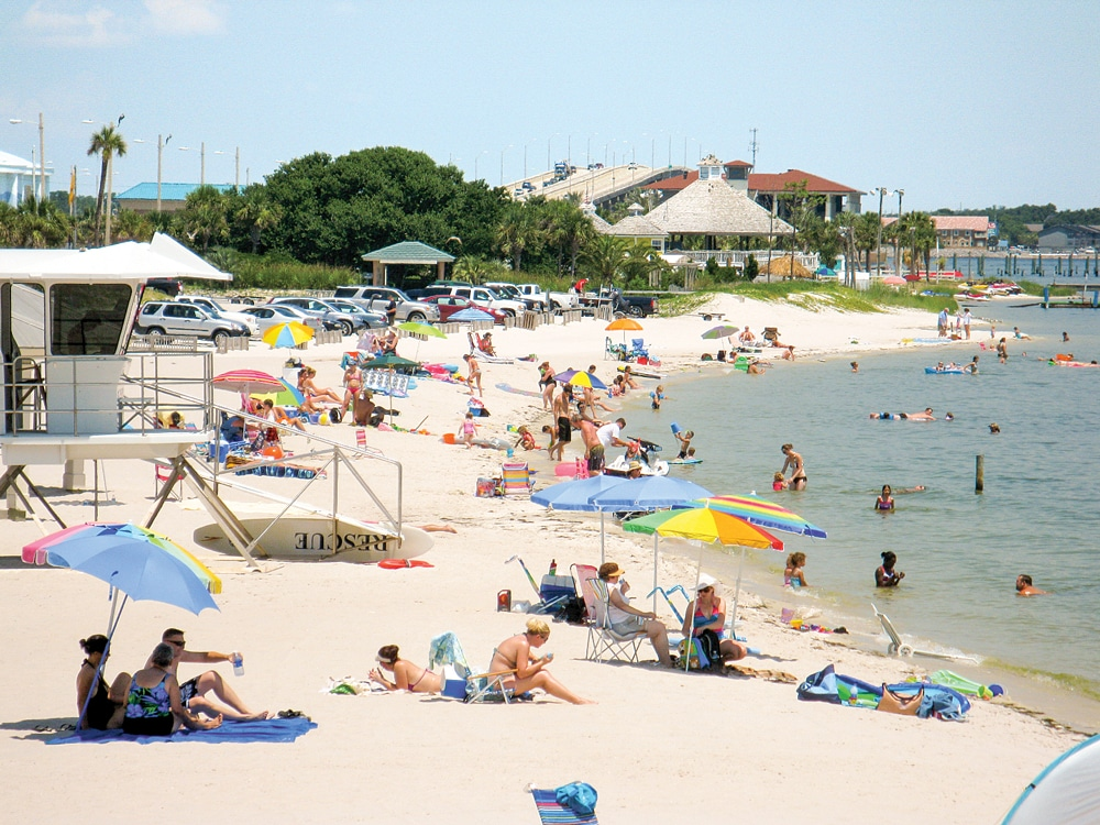 Beaches in the area can fill up quickly, especially during the summer months. The beaches are especially popular due to their gentle waves; clear, shallow waters; and sugar-white sand.