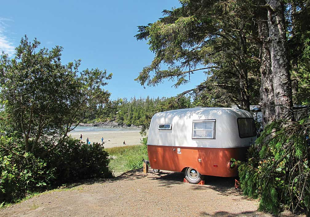 At Tofino's Bella Pacifica Campground, a vintage Boler overlooks MacKenzie Beach.
