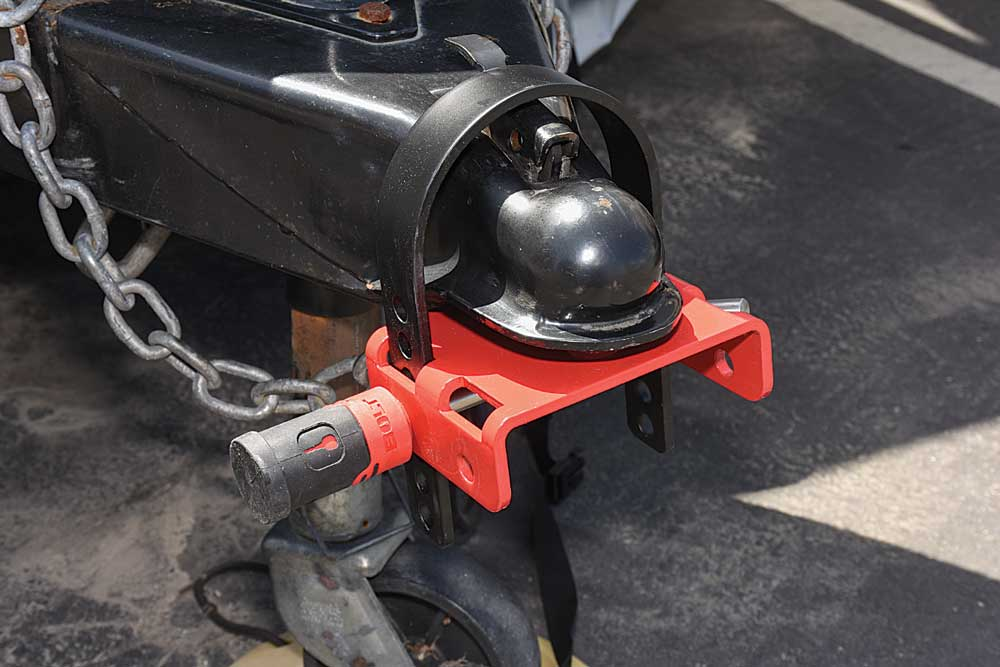 The Off-Vehicle Coupler Lock is a theft deterrent when the trailer is in storage, preventing a thief with a vehicle from hitching up the trailer and towing it away.
