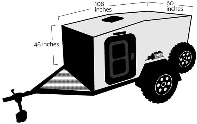 Line drawing of side of trailer showing dimensions