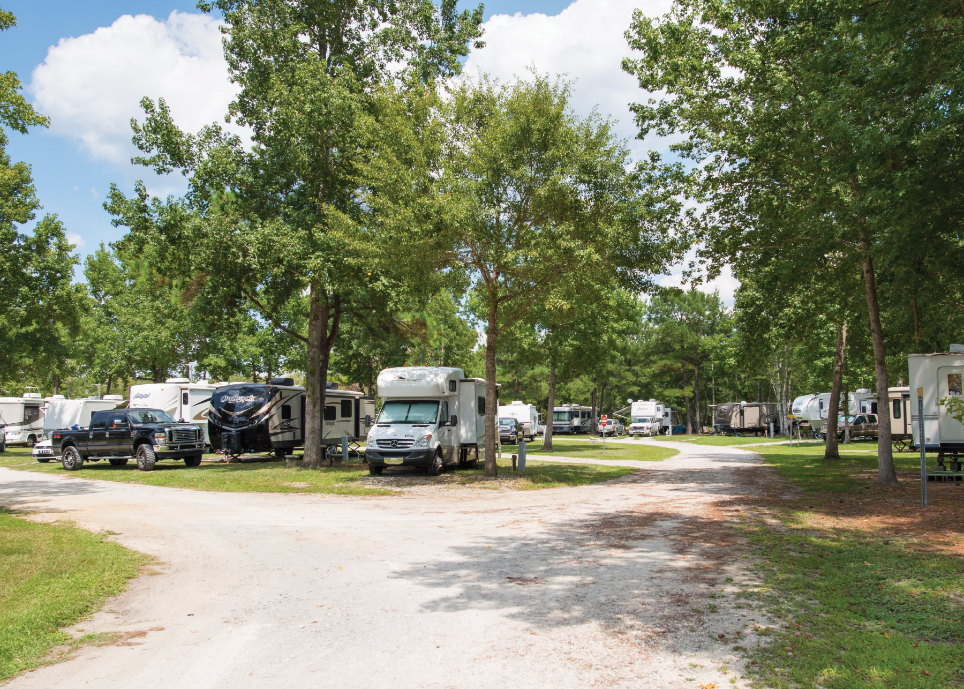 An hour from Wilmington, Brunswick Beaches Camping Resort welcomes RVers.
