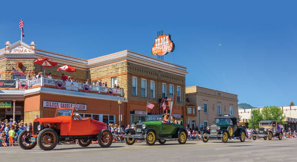 REvelers celebrate the fourth of July in the streets of Cody Wyoming