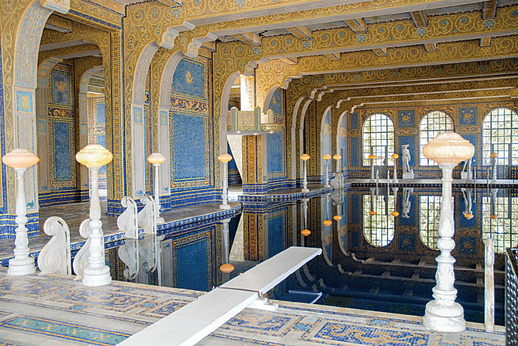The indoor Roman Pool's glass-tile mosaics took more than five years to complete.