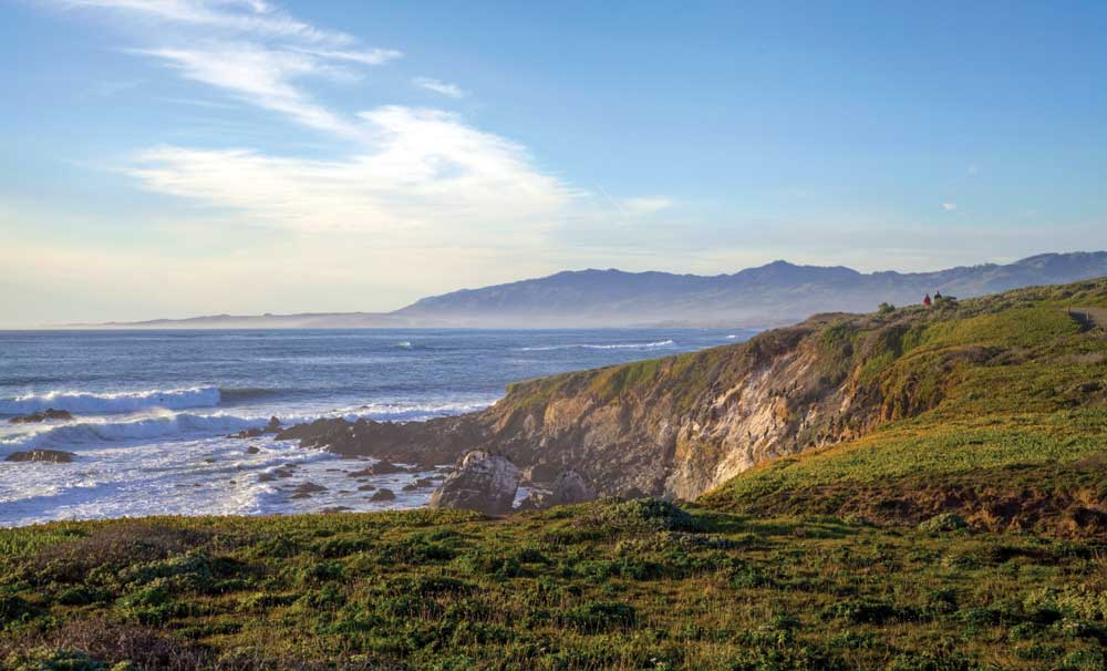 Farther north in Cambria, a sunny afternoon treats hikers to panoramic views from the bluffs of Fiscalini Ranch Preserve, 434 idyllic acres of public open space.