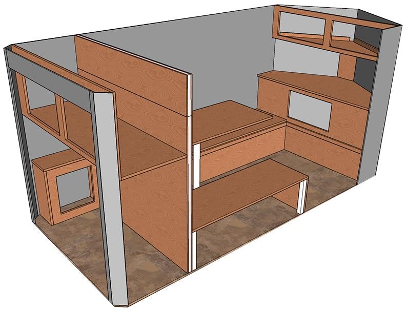 3D-look floorplan of trailer