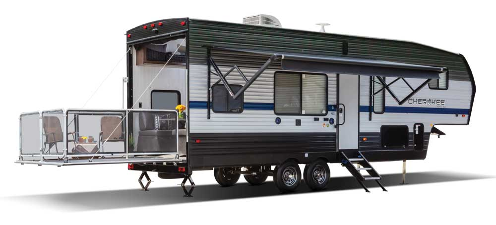 Cherokee255RR Fifth Wheel toy hauler exterior with patio set up