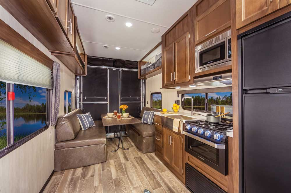 Cherokee255RR Fifth Wheel toy hauler galley and living area