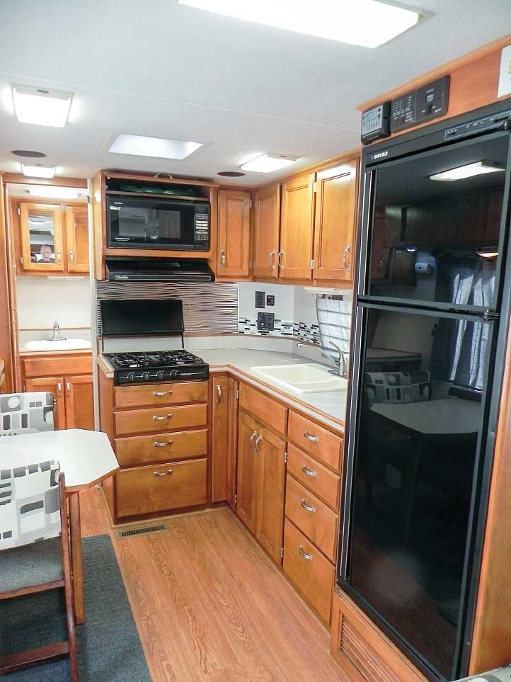 The Trek's galley is unusually spacious for a small motorhome, complete with a 6-foot-long countertop.