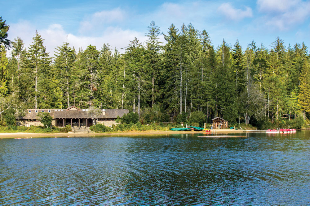 The Cleawox Lake bathhouse dates back to 1938. Today, visitors can rent canoes, kayaks and paddleboats, or use the swimming and fishing docks.