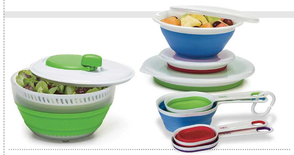 Collapsible salad spinner, mixing bowls and measuring cups
