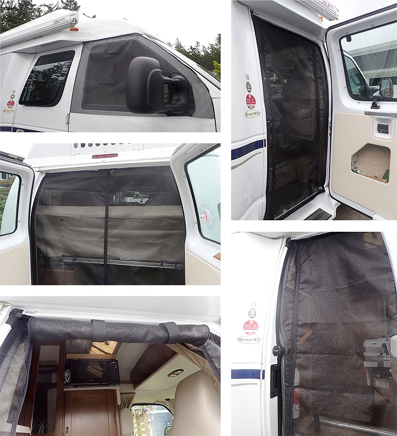 Five photos showing Skeenz in rear and side doors and passenger side of a van-style RV.