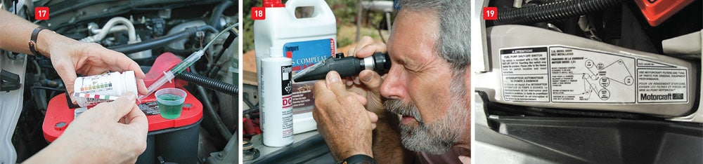 (17) A diesel engine's coolant should be checked at regular intervals with a test kit such as the Fleetguard CC2607 Quik-Chek. You can also have the coolant analyzed by a professional lab. (18) A refractometer can be used to determine the freeze point protection. (19) There is usually a diagram on the radiator frame showing the pattern the belt must follow.