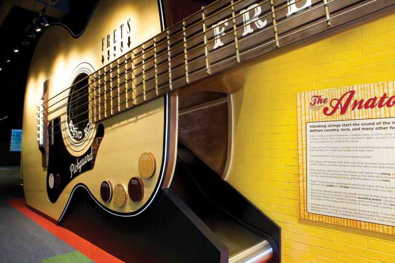 At the Country Music Hall of Fame, visitors can walk inside a 40-foot guitar built by C.F. Martin & Company.