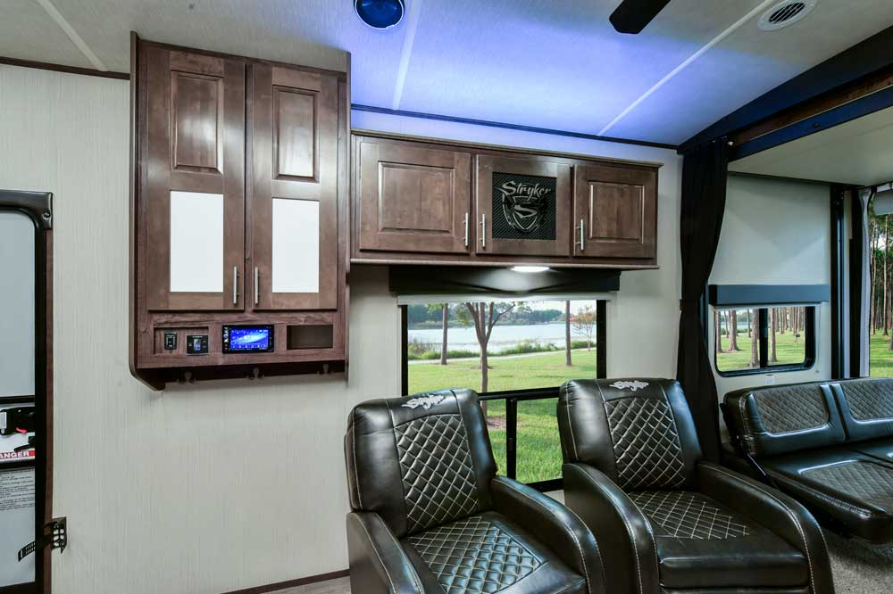 Cruiser-stryker Toy Hauler RV interior with lounge seating