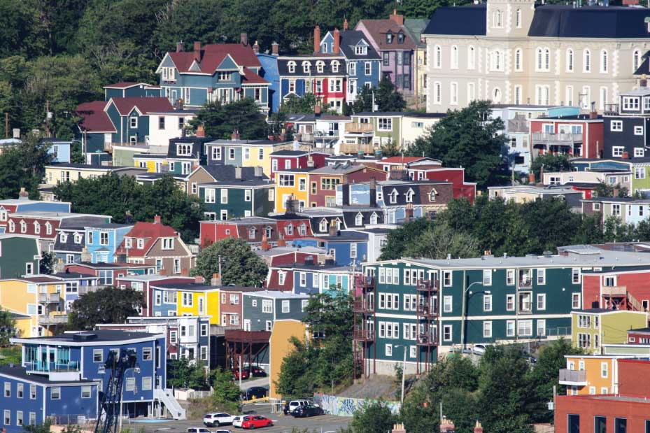 St. John's is famous for its brightly colored buildings.