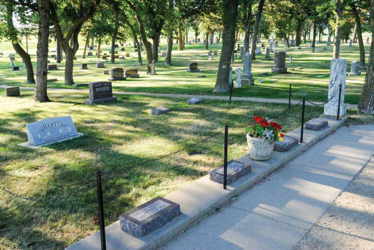 The Ingalls' family plot at De Smet Cemetery in South Dakota. Laura and Almanzo are buried in Mansfield, Missouri.
