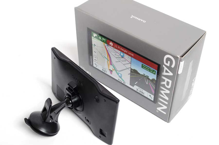 The Garmin RV 770 is a thin and lightweight unit. As a result, the bracket can be smaller because it doesn't have to support the weight of a heavy tablet-style GPS. This also means that the rear-facing speaker is smaller than the Rand McNally tablet models and the Garmin's audio suffers.