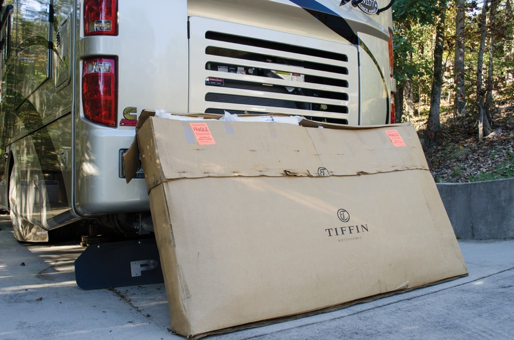 We ordered our replacement window from the Tiffin factory and in less than two weeks the window showed up in a huge box, which required a delivery truck with a lift gate to unload it.