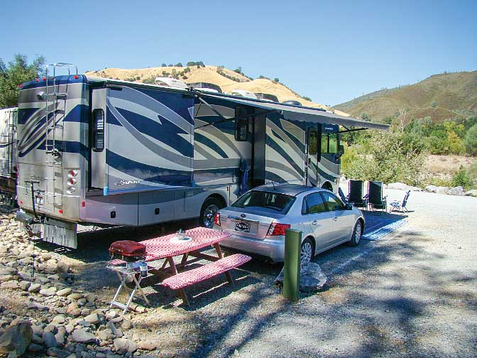 Ponderosa RV Park is located about 10 miles north of Placerville and offers scenic riverfront campsites.