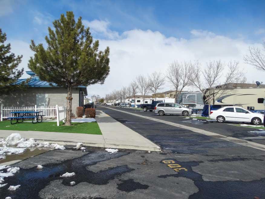 A street view of Sparks Marina RV Park near Reno, Nevada