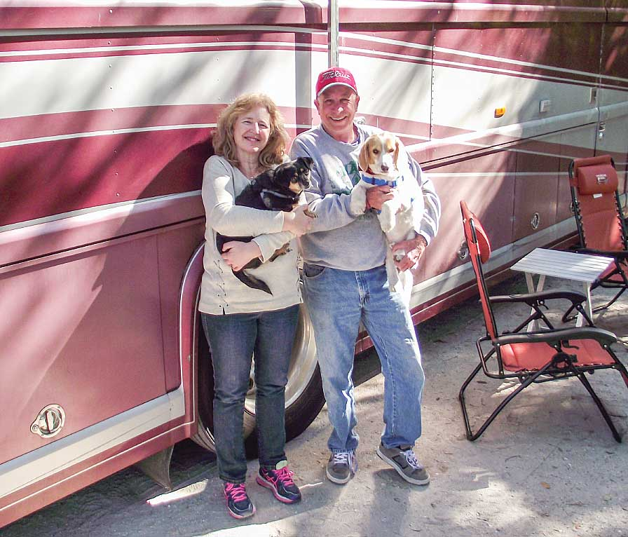 Ted and Laura Jenkins enjoy the relaxed pace of the RV lifestyle with their two canine traveling companions.
