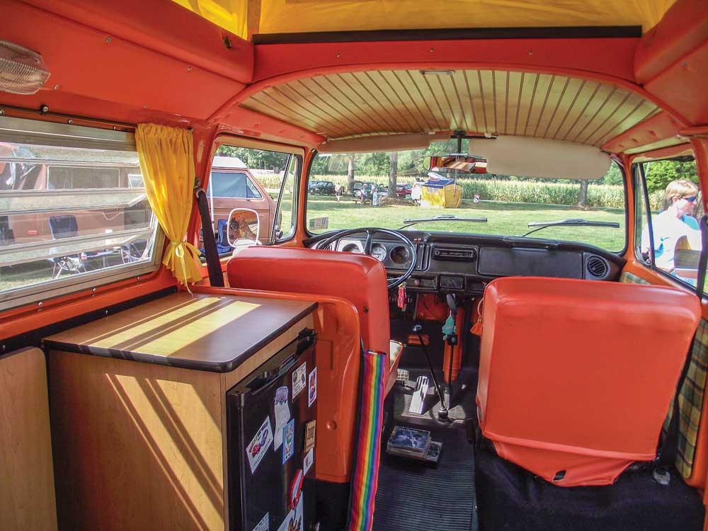 Interior of vintage 1973 VW Riviera Camper Van