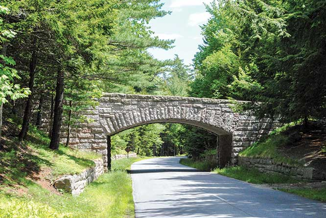 Magnificent stone bridges were built for the Carriage Trail between 1913 and 1940 by order of John D. Rockefeller and then gifted to the National Park Service.