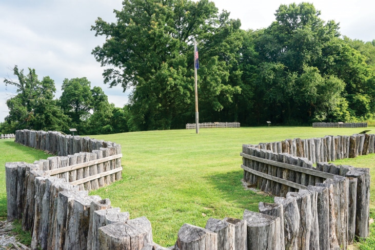 The second of three Fort Knox locations that protected the city from Indian attack has a fence of short logs where the palisade once stood.