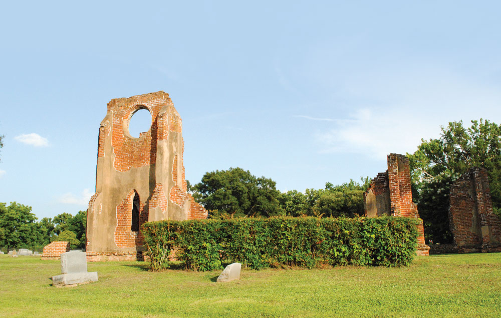 The frequently photographed ruins of St. John's Episcopal Church in Glen Allan. During the Civil War, its stained-glass windows were melted down to make ammunition.