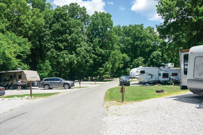 Beautiful Ouabache Trails State Park has an excellent campground just 2 miles north of the city. (Right) Visitors admire the heroic statue of George Rogers Clark inside his memorial.