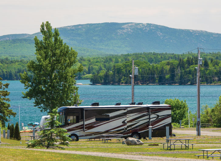 Waterfront camping is available at Narrows Too Camping Resort, located just minutes from Acadia National Park.